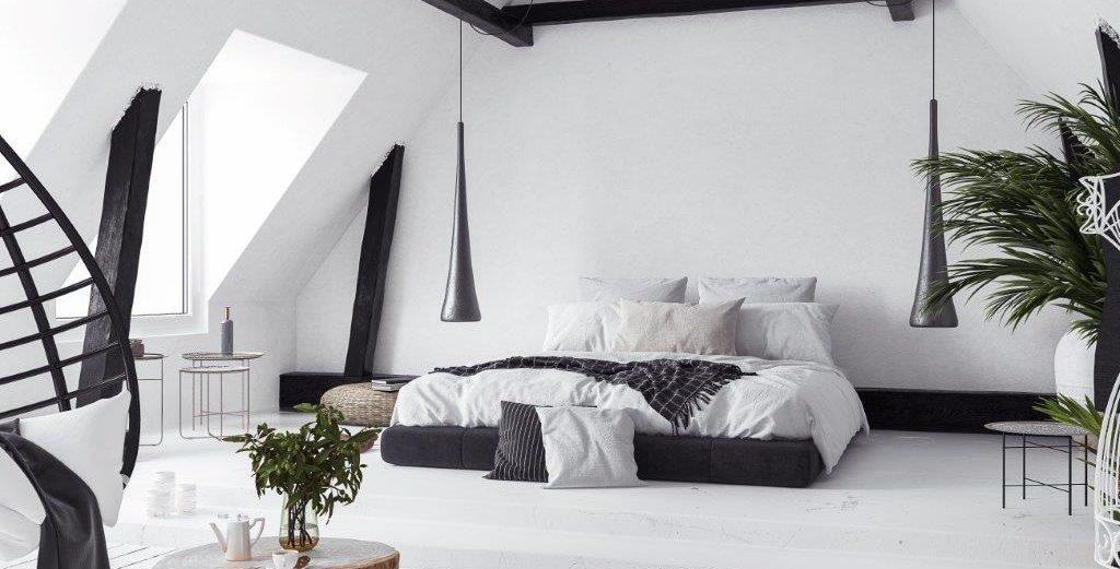 Schlafzimmer in schwarz-weiß. Blickfang Homestaging in Soest