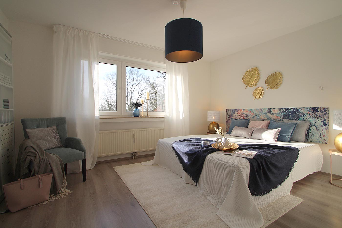 Homestaging im Schlafzimmer durch Blickfang Homestaging - Nicole Biernath