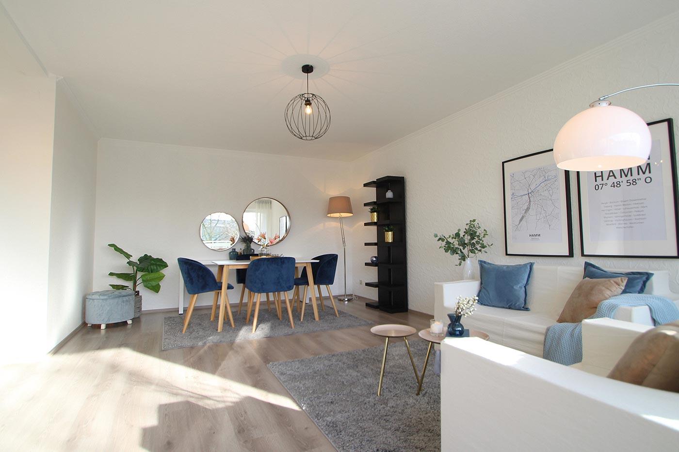 Wohn- und Essbereich nach dem Homestaging durch Nicole Biernath von Blickfang Homestaging in Soest